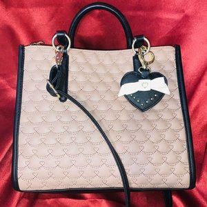 Betsey Johnson Beige & Black Heart Stitched Bag